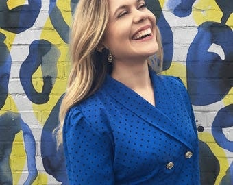 FREE SHIPPING!: Vintage 1980's Blue Polka Dotted Power Blazer