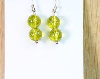 Green Quartz Ball Earrings with Sterling Silver hooks E2148