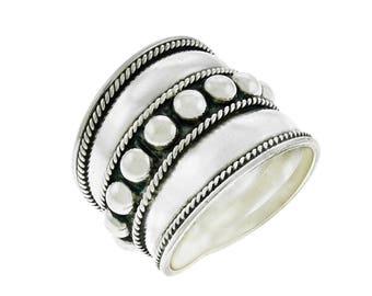 Cigar Band Beaded Ring Sterling Silver Balinese Bali Jewelry