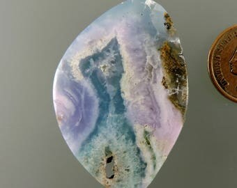 Smithsonite Cabochon, Translucent Smithsonite Cab, Pink Blue Green Smithsonite, Pendant Cab, Gift Cab, C2461, Handcrafted by 49erMinerals