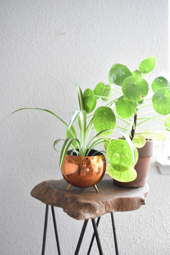 vintage copper planter with feet / small indoor gardening / flower pot