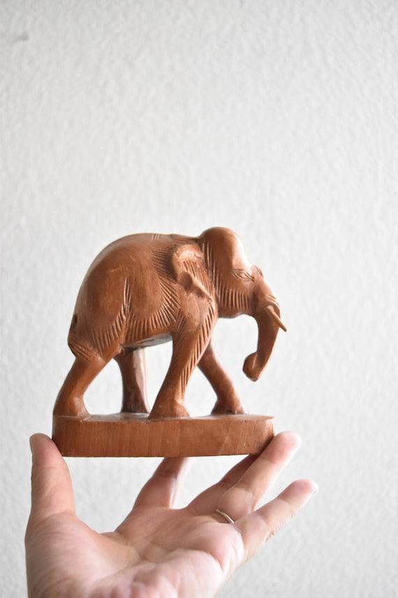 vintage wooden carved elephant figurine sculpture