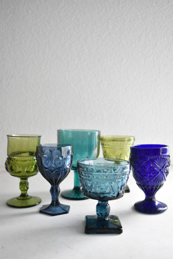 mix collection of blue green glass champagne wine glass goblets / depression glass set
