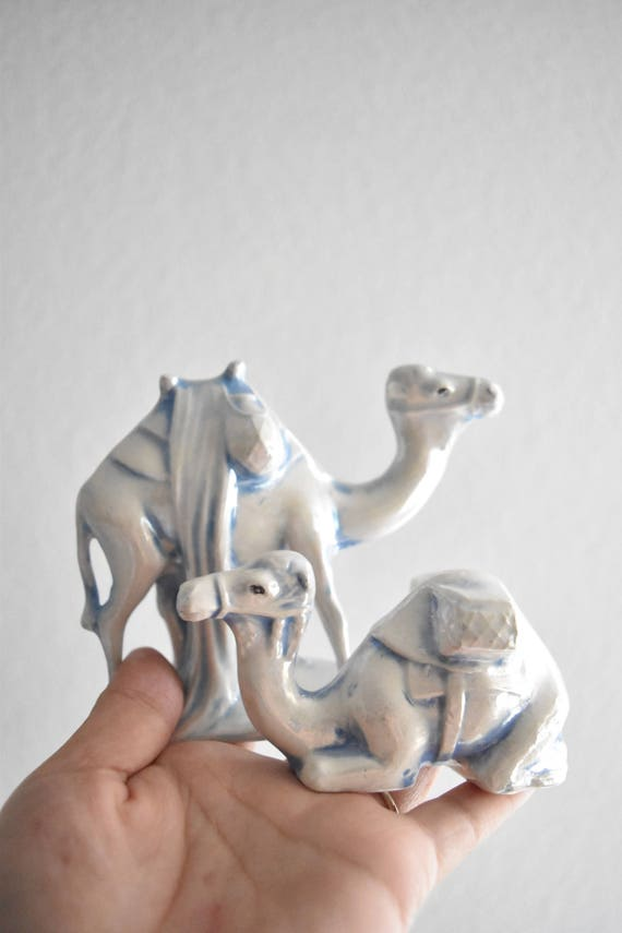 pair of vintage porcelain blue white camel figurine sculpture / set