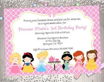 Princess Tea Party Invitation invite princess Tea Party Invitation Royal Tea Party Printable Digital DIY - CHOOSE Your princess