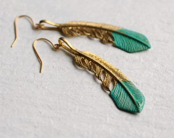 Feather Earrings ... Turquoise Gold Boho Festival Beach Jewelry