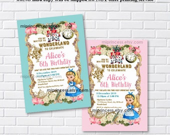 Alice in wonderland invitation, Birthday Invitation, Alice Mad tea party first birthday  1st 2nd 3rd 4th 5th 6th 7th 8th 9th 10th - card 820