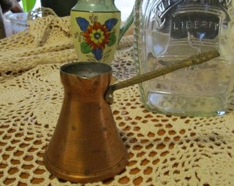 Antique Vintage Copper Turkish Coffee Pot Arabic Greek Stove-top Coffee Marked  Brozece Umuetninzacly Barouevo