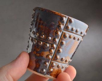 Espresso Cup Ready To Ship Rust Sheet Metal Coffee Mug by Symmetrical Pottery