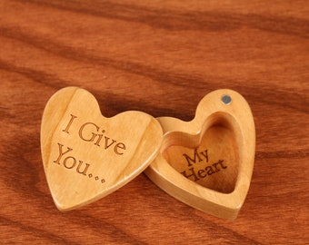 """I Give You... Heart Jewery Box 2-1/4""""  x  2-1/4"""" X 1"""" d, Deep Solid Cherry Wood, H30, Laser Engraved, Masterpiece, Paul Szewc"""