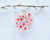 Hand-painted Glass Ornament-Glass Art-Stained Glass Look- Mother's Day-Suncatcher-Paisley-Pink-Red
