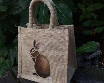 Bunny Rabbit little bag jute hand painted