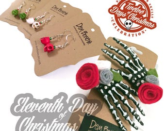 On the eleventh day of Christmas - eleven treats for my sweet // Skelly Clips and Skull Earrings // DemBones //  secret santa // skull gifts