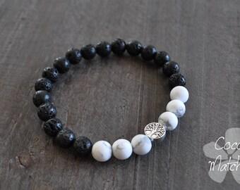 Bracelet pour homme - Pierres naturelles - Arbre de vie - Noir et blanc - Coco Matcha