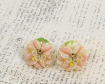 Celluloid Flower Earrings Pierced Post Stud Retro Mid Century Vintage Bridal Wedding Jewelry