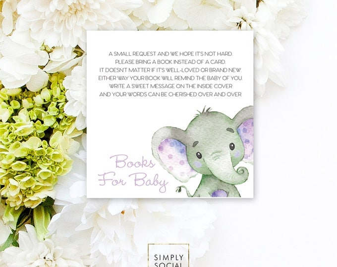 INSTANT DOWNLOAD Elephant Baby Shower Bring a Book Instead of a Card insert Purple Boho Elephant Jungle Watercolor Calligraphy PRINTABLE