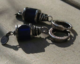 Sterling Silver and Cobalt Glass Drop Earrings MODERN