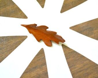 1950s Carved Wooden Oak Leaf Brooch