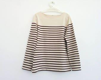 Vintage breton stripe top nautical French dark red and ecru off white striped long sleeve simple thick basic tee. Size Medium EU 36 38