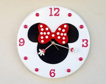 Minnie Mouse Clock, Minnie Mouse, Minnie Mouse Wall Clock, Disney Clock, Disney, Custom Disney Clock, Made to Order Clock, Minnie Clock
