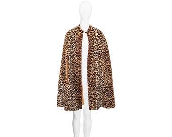 Vintage Leopard Cape, Faux Fur and Wool, Luxurious Glamour, Vintage 1950s
