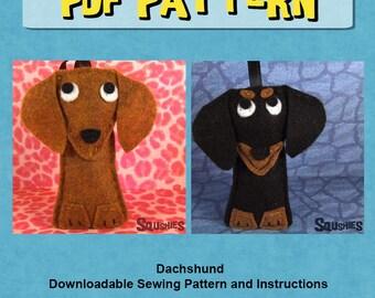 Felt Animal Pattern,  Dog Christmas Felt Ornament PDF, Dachshund , Doxie