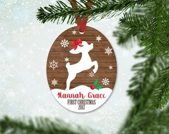 Personalized First Christmas Ornament, Baby Girl Keepsake Ornament, Baby's 1st Christmas, Christmas Deer Fawn, Christmas Gift (033)