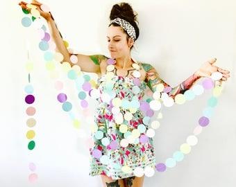 Pastel Rainbow Circle Garland - Unicorn Birthday Party Decor, Sprinkle Baby Shower, Ice Cream Bridal Shower, High Chair Banner, Cake Smash