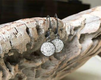 Small Druzy Earrings in Oxidized Sterling Silver