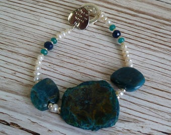 Natural Agate, Apalite and Fresh Water Pearl Bracelet UK made
