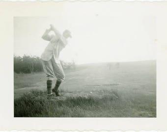 "Vintage Photo ""The Grand Swinger"" Snapshot Antique Black & White Photograph Found Paper Ephemera Vernacular Interior Design Mood - 126"