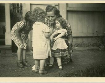 "Vintage Photo ""The Birthday Dolly"" Snapshot Antique Black & White Photograph Found Paper Ephemera Vernacular Interior Design Mood - 59"
