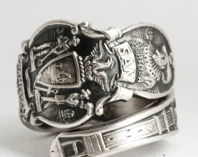 San Francisco Ring, Sterling Silver Spoon Ring, Souvenir California Ring, Handmade Gift for Her or Him, Adjustable Ring Size 6 7 8 9 (6930)