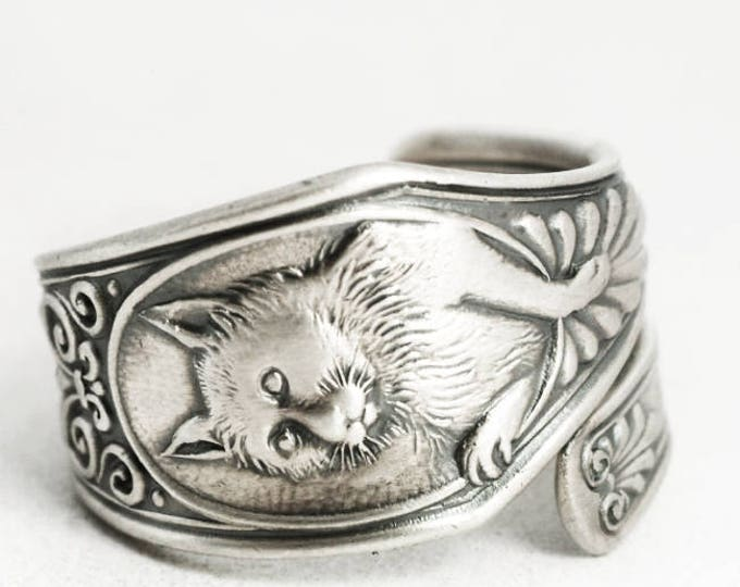 Silver Cat Ring, Kitten Ring, Sterling Silver Spoon Ring, Animal Ring, Cute Animal Gift, Cat Lover Gift for Her, Adjustable Ring Size (7015)