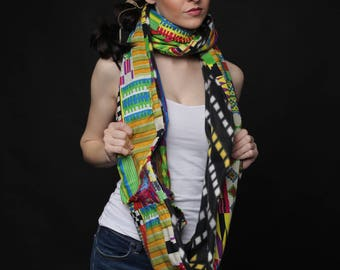 Unisex Reversible Ankara and Fleece Lined Infinity Scarf Foulard d'hiver - Foulard d'hiver African Pagne Foulard d'hiver,loop snood scarf