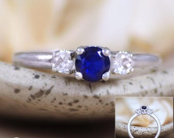 Three Sapphire Engagement Ring in Sterling - Silver Blue Sapphire and White Sapphire Wedding Bridal Ring - Anniversary Promise Ring