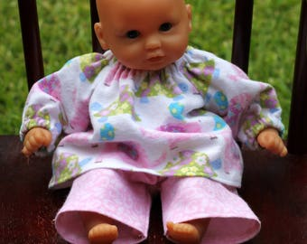 12 inch Corolle Doll Flannel Pajamas, 12 inch Huggums Doll Flannel Pajamas, Doll Top and Pants, Pink and Green Elephants and Turtles