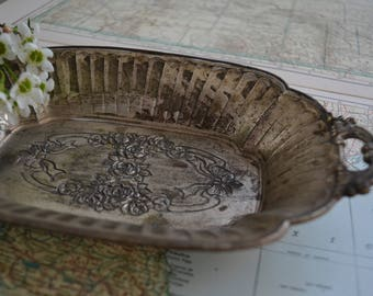 Beautiful Vintage Silver Catch All Tray Floral Design