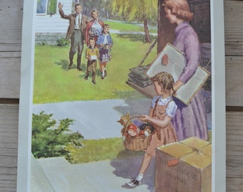 Vintage Providence Lithograph Sunday School Family New Neighbors Moving Print Art