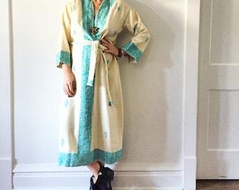 Vintage Romanian Embroidered Wool Wrap Dress , Ethnic Kaftan , Wool Robe