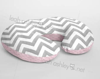 Boppy® Cover, Nursing Pillow Cover - GRAY Chevron Minky with BABY PINK Minky Dot or Minky Smooth - Choose Your Minky Type - BC2