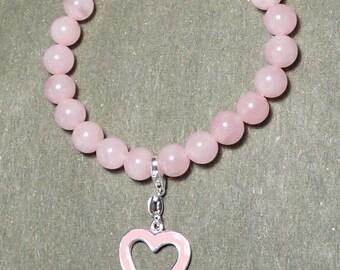 Heart Charm Rose Quartz Bead Stretch Bracelet 925 Sterling Silver