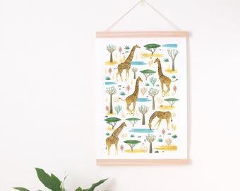 giraffe nursery print, Giraffe nursery, safari nursery print, Safari nursery, safari nursery decor, giraffe wall art, giraffe art print