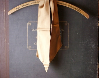 Vintage Gold Satin Neck Scarf - Double Sided Bronze Sash