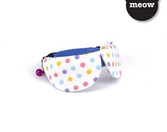 GOOOD Cat Collar   Dapper Round - Pastel Polka   100% Blue & Pastel Dots Cotton Fabric   Safety Breakaway Buckle