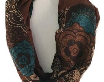 Brown Scarf, Brown Floral Fabric, Infinity Scarf, Scarf, Knit Scarf, Long scarf, Loop scarf, Circle Scarf, Cowl Scarf, Eternity Scarf