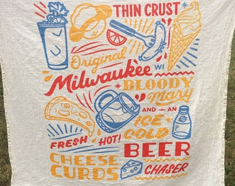 Milwaukee Sign flour sack towel. Food drinks, Wisconsin, beer bloody mary cheese, tea towel made in the USA with eco-friendly inks.