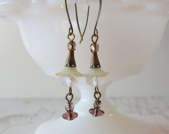 Faery Flower Dangles // Art Deco Earrings, Pastel