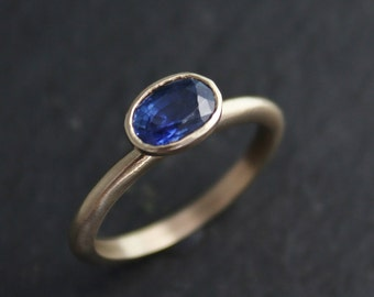 Oval Sapphire in 14k Yellow Gold, One of a Kind Ring, Stacking Ring, September Birthstone, Sapphire Solitaire, Ready to Ship Size 7