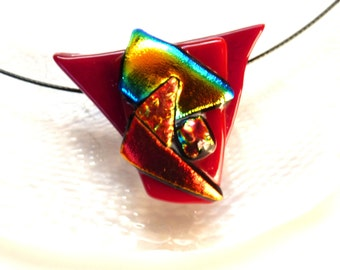 Dichroic glass pendant ~ Colourful fused glass necklace, Jewelry gifts, Gift ideas for Women, Gift for Her, Present Girlfriend Sister Mum